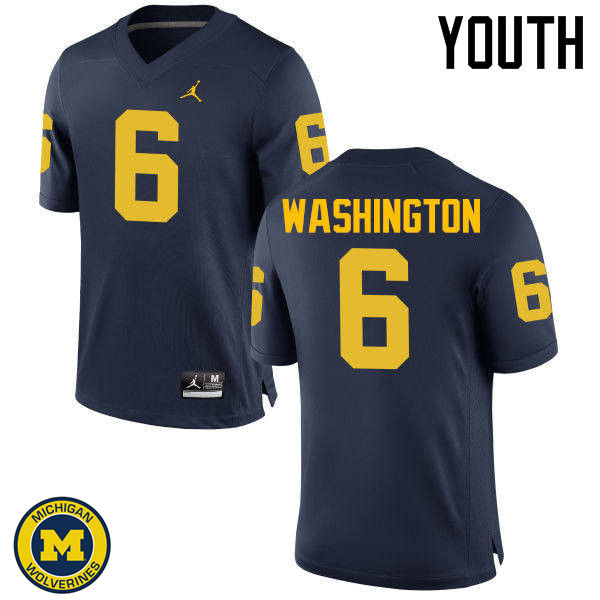 Youth Michigan Wolverines #6 Keith Washington College Football Jerseys Sale-Navy
