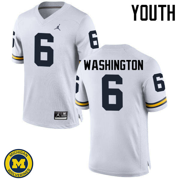 Youth Michigan Wolverines #6 Keith Washington College Football Jerseys Sale-White
