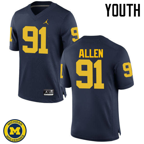 Youth Michigan Wolverines #91 Kenny Allen College Football Jerseys Sale-Navy