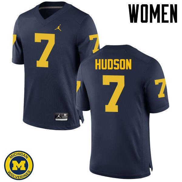 Women Michigan Wolverines #7 Khaleke Hudson College Football Jerseys Sale-Navy