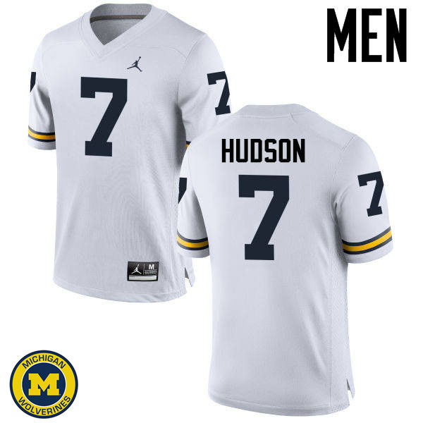 Men Michigan Wolverines #7 Khaleke Hudson College Football Jerseys Sale-White