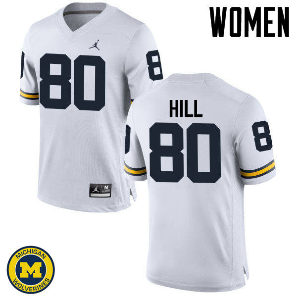 Women Michigan Wolverines #80 Khalid Hill College Football Jerseys Sale-White