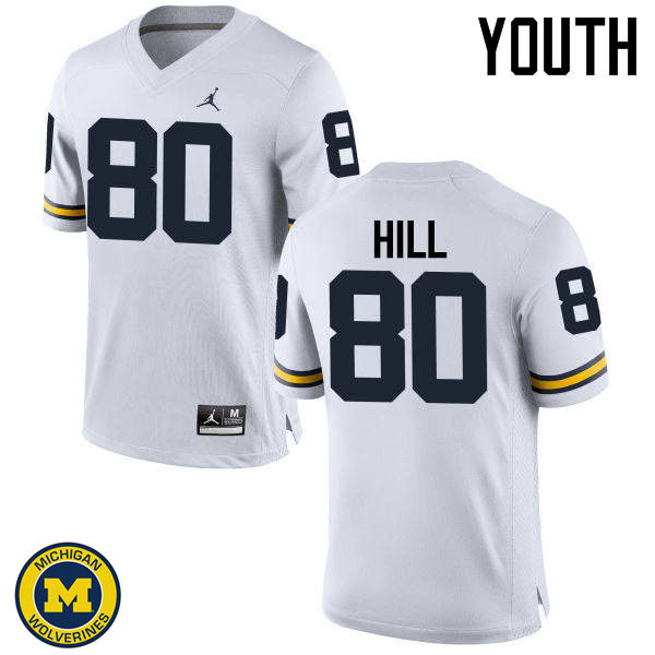 Youth Michigan Wolverines #80 Khalid Hill College Football Jerseys Sale-White