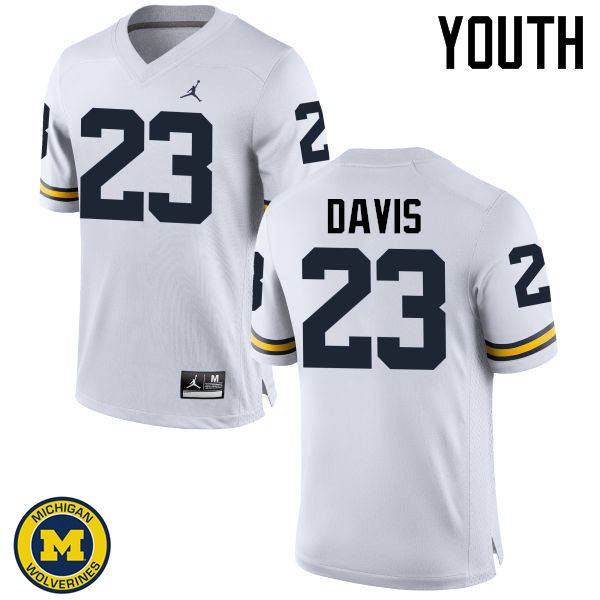 Youth Michigan Wolverines #23 Kingston Davis College Football Jerseys Sale-White