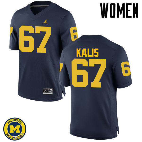 Women Michigan Wolverines #67 Kyle Kalis College Football Jerseys Sale-Navy