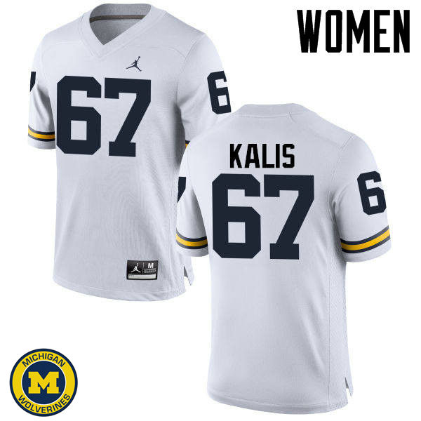 Women Michigan Wolverines #67 Kyle Kalis College Football Jerseys Sale-White
