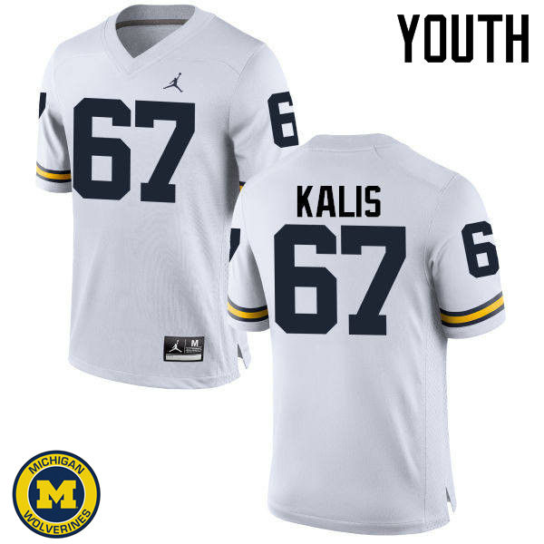 Youth Michigan Wolverines #67 Kyle Kalis College Football Jerseys Sale-White