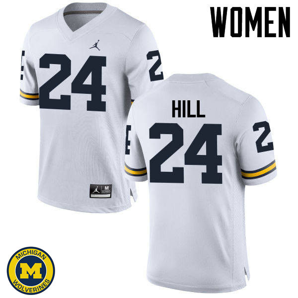 Women Michigan Wolverines #24 Lavert Hill College Football Jerseys Sale-White