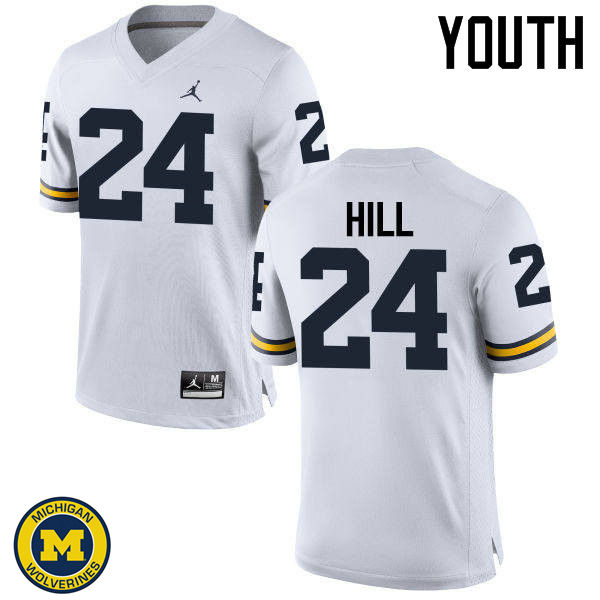 Youth Michigan Wolverines #24 Lavert Hill College Football Jerseys Sale-White