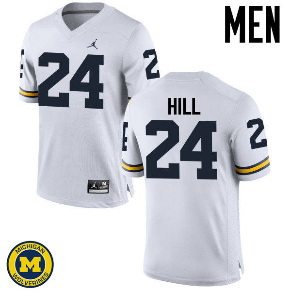 Men Michigan Wolverines #24 Lavert Hill College Football Jerseys Sale-White