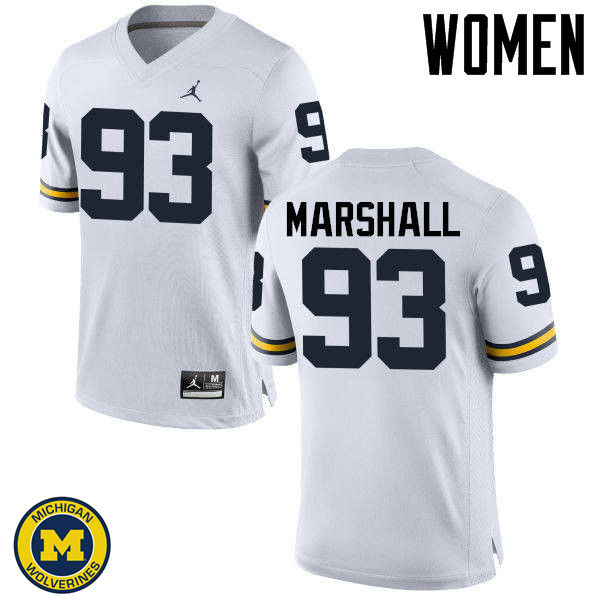 Women Michigan Wolverines #93 Lawrence Marshall College Football Jerseys Sale-White