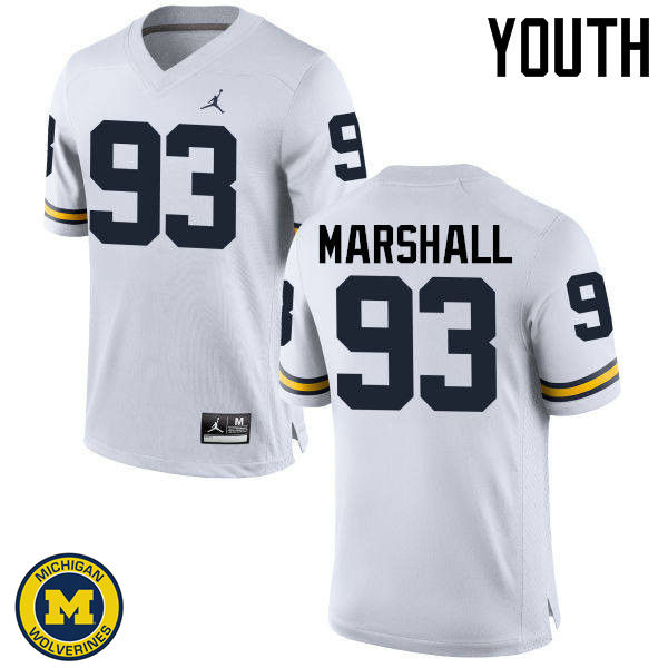 Youth Michigan Wolverines #93 Lawrence Marshall College Football Jerseys Sale-White
