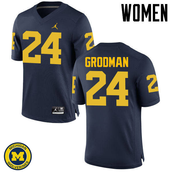 Women Michigan Wolverines #24 Louis Grodman College Football Jerseys Sale-Navy