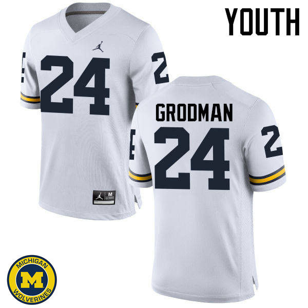Youth Michigan Wolverines #24 Louis Grodman College Football Jerseys Sale-White