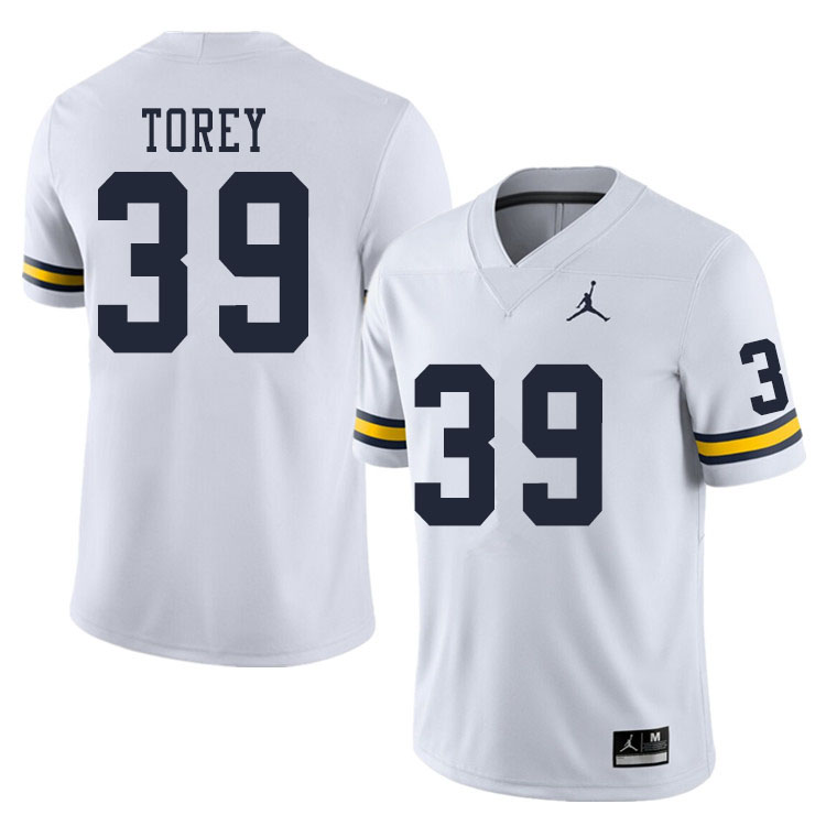 Men #39 Matt Torey Michigan Wolverines College Football Jerseys Sale-White