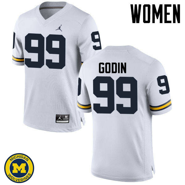 Women Michigan Wolverines #99 Matthew Godin College Football Jerseys Sale-White