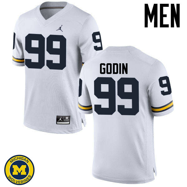 Men Michigan Wolverines #99 Matthew Godin College Football Jerseys Sale-White