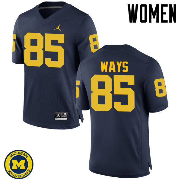 Women Michigan Wolverines #85 Maurice Ways College Football Jerseys Sale-Navy