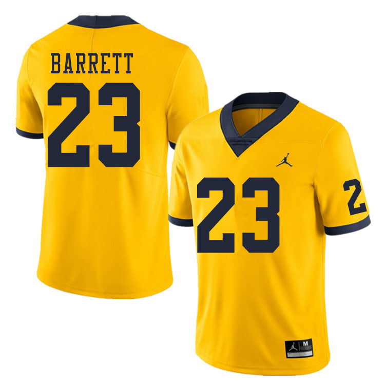 Men #23 Michael Barrett Michigan Wolverines College Football Jerseys Sale-Yellow
