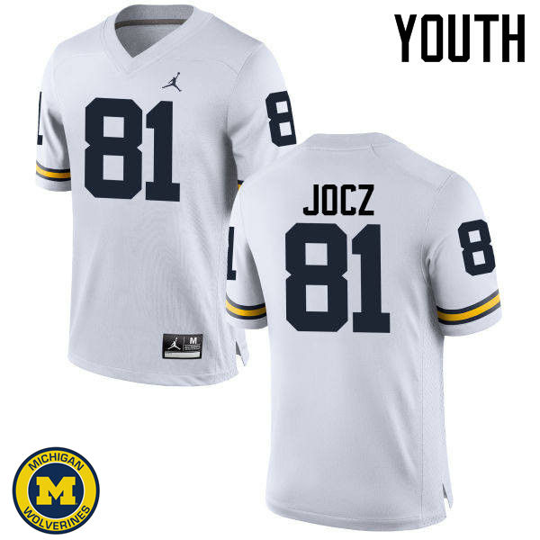 Youth Michigan Wolverines #81 Michael Jocz College Football Jerseys Sale-White