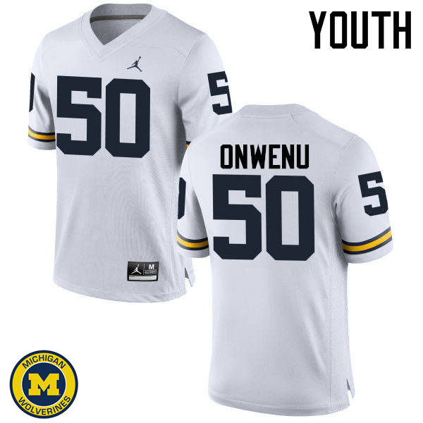 Youth Michigan Wolverines #50 Michael Onwenu College Football Jerseys Sale-White