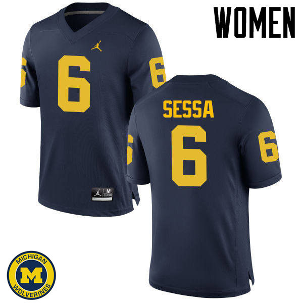 Women Michigan Wolverines #6 Michael Sessa College Football Jerseys Sale-Navy