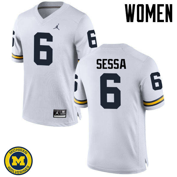 Women Michigan Wolverines #6 Michael Sessa College Football Jerseys Sale-White