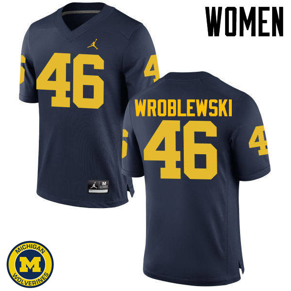 Women Michigan Wolverines #46 Michael Wroblewski College Football Jerseys Sale-Navy