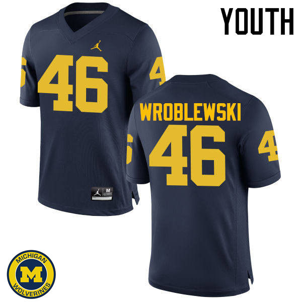 Youth Michigan Wolverines #46 Michael Wroblewski College Football Jerseys Sale-Navy