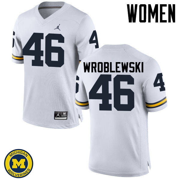 Women Michigan Wolverines #46 Michael Wroblewski College Football Jerseys Sale-White