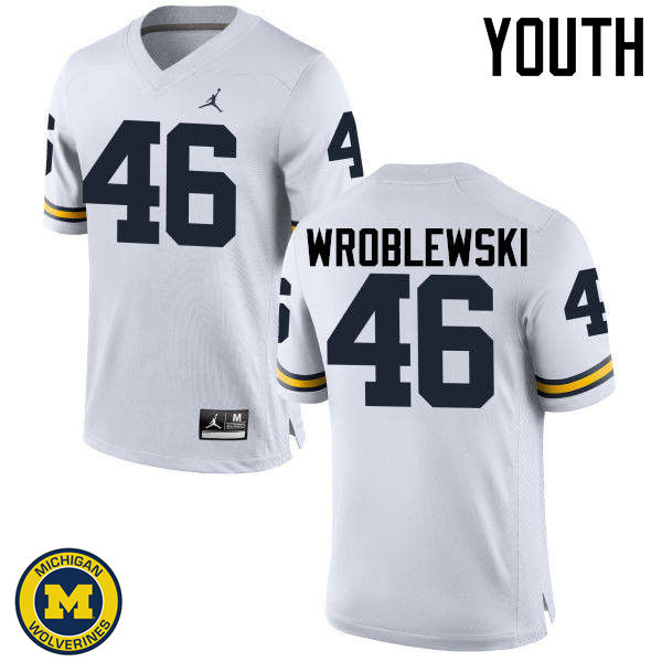 Youth Michigan Wolverines #46 Michael Wroblewski College Football Jerseys Sale-White