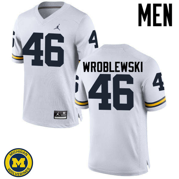 Men Michigan Wolverines #46 Michael Wroblewski College Football Jerseys Sale-White