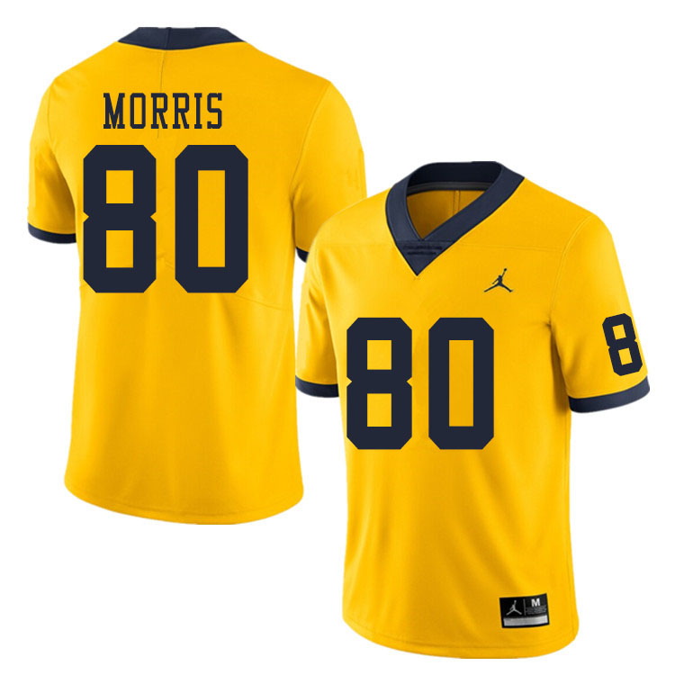 Men #80 Mike Morris Michigan Wolverines College Football Jerseys Sale-Yellow