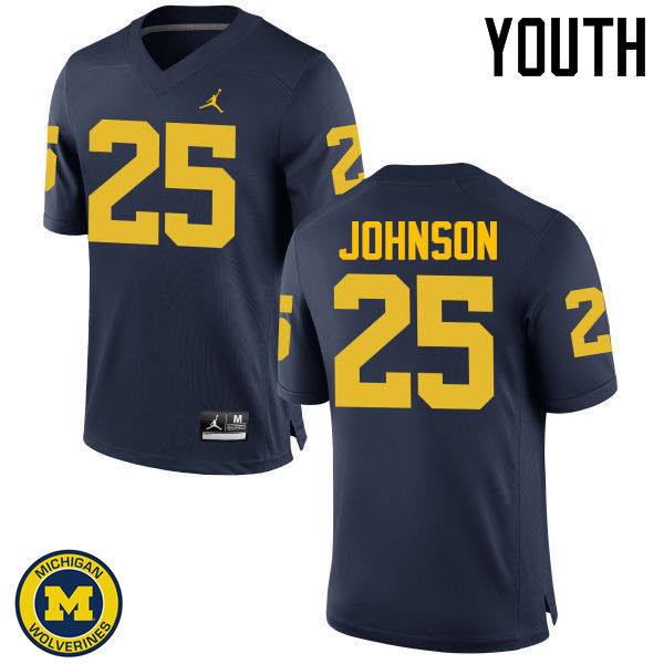 Youth Michigan Wolverines #25 Nate Johnson College Football Jerseys Sale-Navy