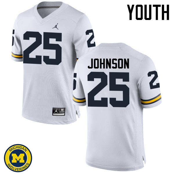 Youth Michigan Wolverines #25 Nate Johnson College Football Jerseys Sale-White