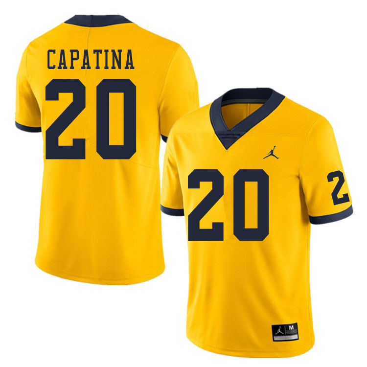 Men #20 Nicholas Capatina Michigan Wolverines College Football Jerseys Sale-Yellow