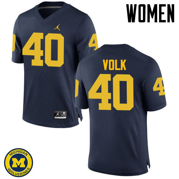Women Michigan Wolverines #40 Nick Volk College Football Jerseys Sale-Navy