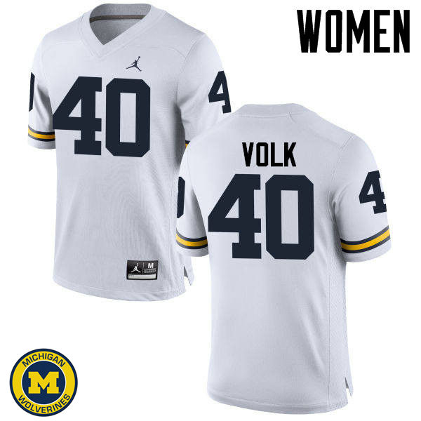 Women Michigan Wolverines #40 Nick Volk College Football Jerseys Sale-White