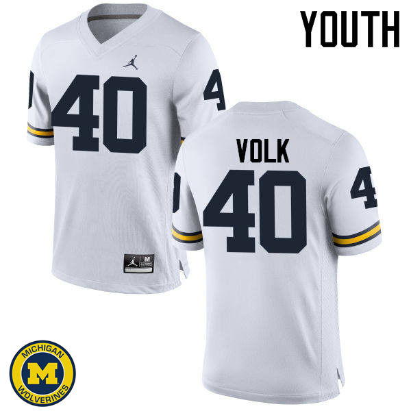 Youth Michigan Wolverines #40 Nick Volk College Football Jerseys Sale-White