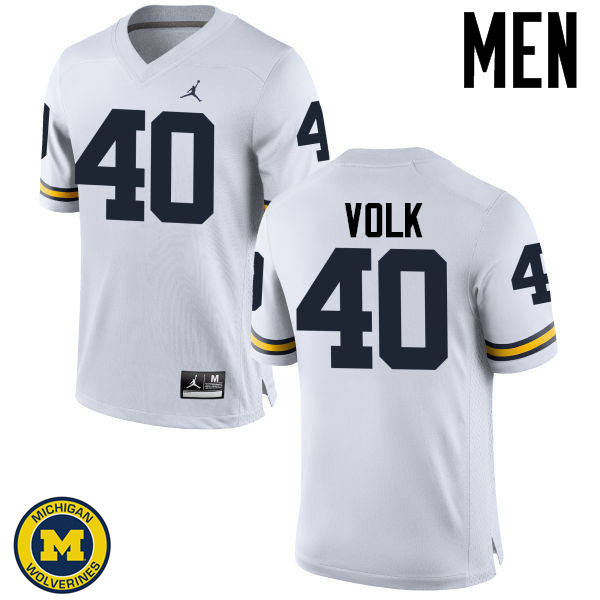 Men Michigan Wolverines #40 Nick Volk College Football Jerseys Sale-White