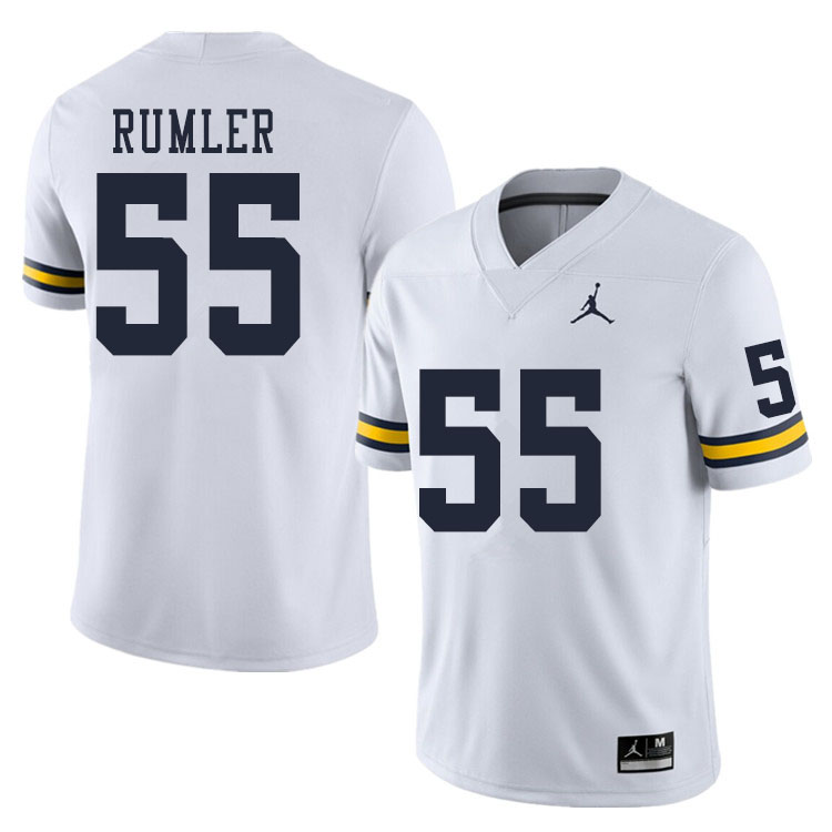 Men #55 Nolan Rumler Michigan Wolverines College Football Jerseys Sale-White
