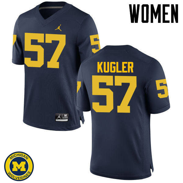 Women Michigan Wolverines #57 Patrick Kugler College Football Jerseys Sale-Navy