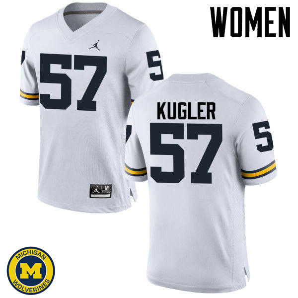 Women Michigan Wolverines #57 Patrick Kugler College Football Jerseys Sale-White