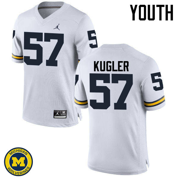 Youth Michigan Wolverines #57 Patrick Kugler College Football Jerseys Sale-White