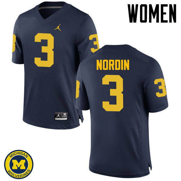 Women Michigan Wolverines #3 Quinn Nordin College Football Jerseys Sale-Navy