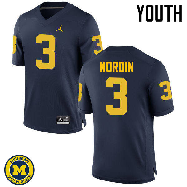 Youth Michigan Wolverines #3 Quinn Nordin College Football Jerseys Sale-Navy