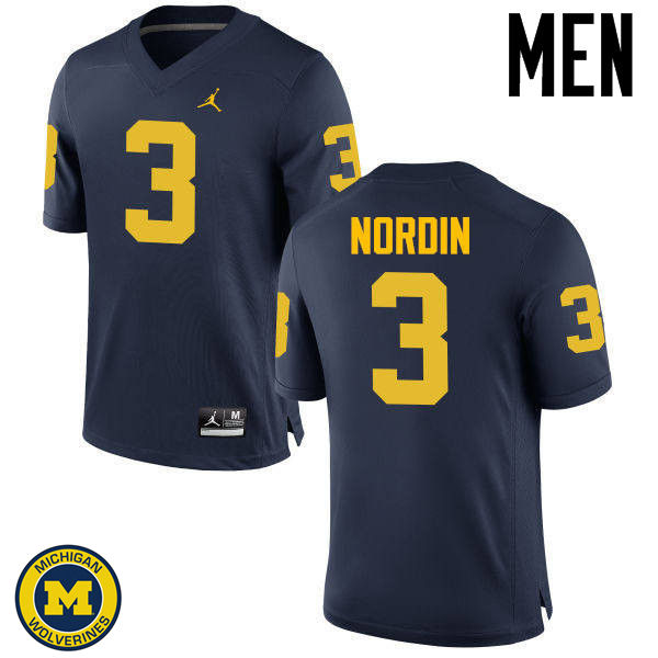 Men Michigan Wolverines #3 Quinn Nordin College Football Jerseys Sale-Navy