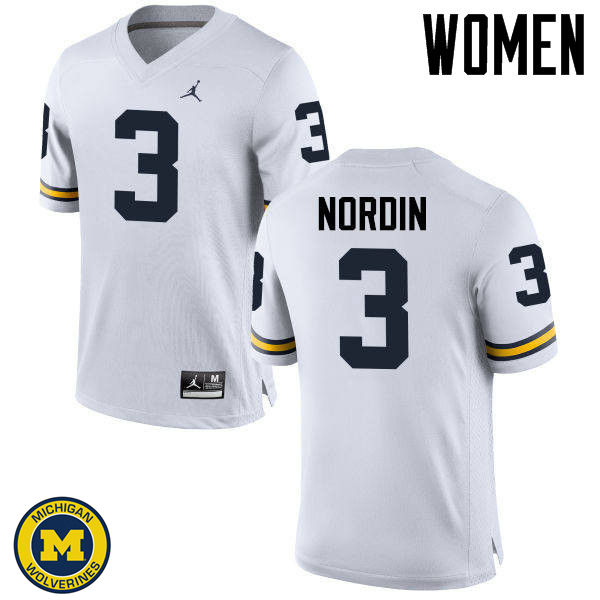 Women Michigan Wolverines #3 Quinn Nordin College Football Jerseys Sale-White