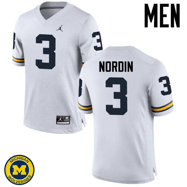 Men Michigan Wolverines #3 Quinn Nordin College Football Jerseys Sale-White