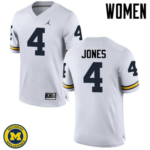 Women Michigan Wolverines #4 Reuben Jones College Football Jerseys Sale-White